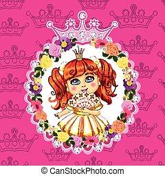 różowy, mały, włosy, tło, księżna, czerwony