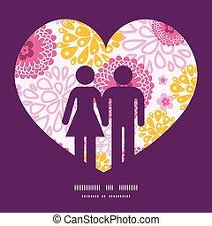 różowy, miłość, próbka, para, powitanie, pole, sylwetka, wektor, szablon, zaproszenie, kwiaty, ułożyć, karta
