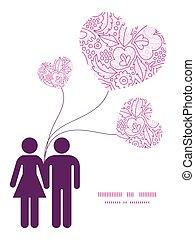 różowy, miłość, próbka, para, powitanie, sylwetka, wektor, szablon, zaproszenie, lineart, kwiaty, ułożyć, karta