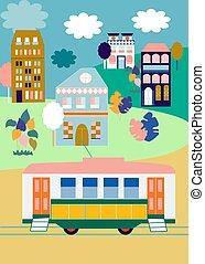 różowy, miasto, błękitny, złoty, ilustracja, domy, barwny