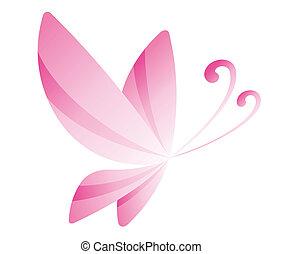 różowy, motyl