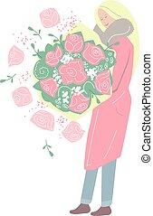różowy, naniesieni, roses., kobieta, grono, cielna, młody, niniejszy, stoi, -