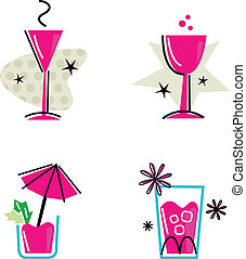 różowy, odizolowany, zbiór, retro, biały, pije