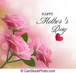 różowy, piękny, tło, matczyny, day., flowers., vector., święto