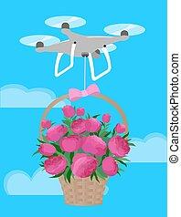 różowy, piwonie, miłość, dar, bukiet, rozwieszenie, valentine, truteń, kosz, dzień