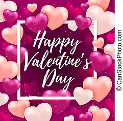 różowy, powitanie karta, valentine