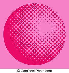 różowy, próbka, kula, halftone, tło, promieniowy