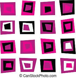 różowy, próbka, seamless, retro, tło, kwadraty, albo