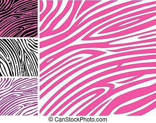 różowy, próbka, zebra, zwierzę skóra odcisk