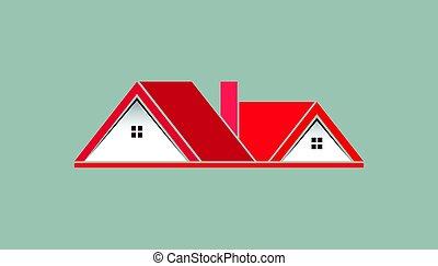 różowy, prawdziwy, logo, stan, dom