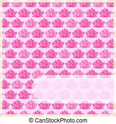 różowy, prosty, kwiat, karta, etykieta