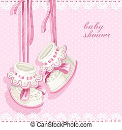 różowy, przelotny deszcz, karta, zdobycze, niemowlę