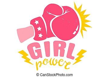 różowy, rękawiczka, dziewczyna, boks, wstążka