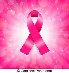 różowy, rak, chorągiew, pierś, wstążka