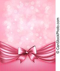 różowy, ribbon., łuk daru, wektor, połyskujący, tło, święto