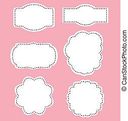 różowy, romans, biały, etykiety, tło