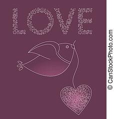 różowy, serce, abstrakcyjny, ptak