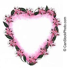 różowy, serce, brzeg