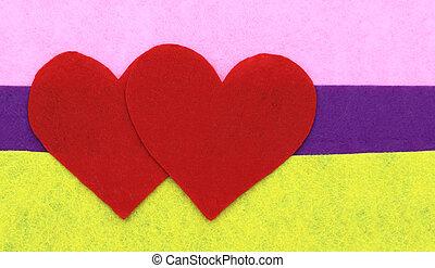 różowy, serce, purpurowy, do góry, modeluje, żółty, papier, tło, zamknięcie