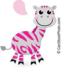 różowy, sprytny, biały, odizolowany, zebra