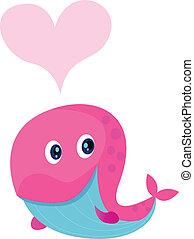 różowy, sprytny, formułować, wieloryb, serce