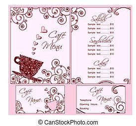 różowy, sprytny, handlowy, obaj, menu, wstecz, kawiarnia, szablony, karta, front.