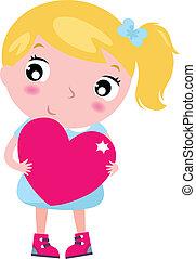 różowy, sprytny, mały, serce, odizolowany, blond, dziewczyna, biały