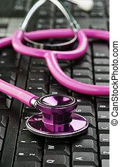różowy, stetoskop, klawiatura