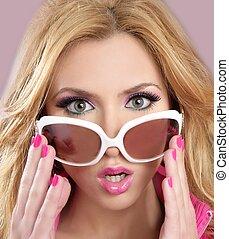 różowy, styl, fason, blode, barbie, lalka, makijaż, dziewczyna