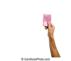 różowy, szczelnie-do góry, serwetka, dzierżawa, obiekt, odizolowany, przeciw, ręka, tło., papier, obrzynek ścieżka, biały