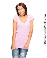 różowy, t-shirt, kobieta, czysty