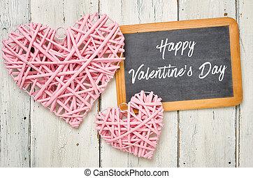 różowy, tablica, list miłosny, -, serca, dzień, szczęśliwy