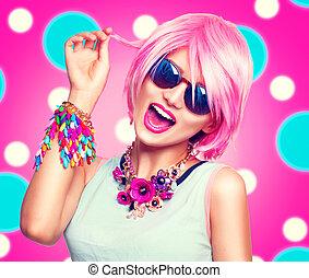 różowy, teenage, fason, sunglasses, barwny, piękno, przybory, włosy, dziewczyna, wzór