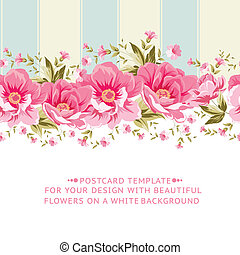 różowy, tile., kwiat, brzeg, ozdobny