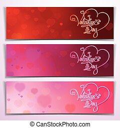 różowy, -, trzy, valentine, chorągwie, czerwony