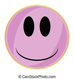 różowy, twarz, odizolowany, guzik, uśmiech