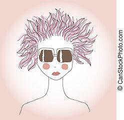 różowy włos, dziewczyna