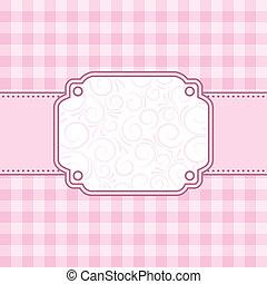 różowy, wektor, frame., illustration.