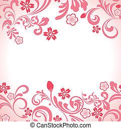 różowy, wiśnia, ułożyć, seamless, kwiat