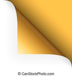 róg, górny, papier, -, żółty