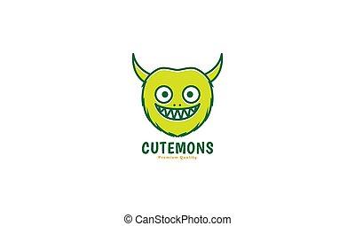 róg, potwór, wektor, uśmiech, głowa, ikona, rysunek, ilustracja, sprytny, projektować, szczęśliwy, logo, zielony