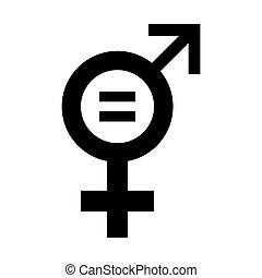 równość, illustration., ikona, wektor, rodzaj