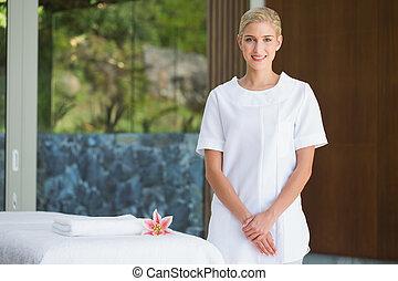 ręcznik, reputacja, terapeuta, uśmiechanie się, piękno, masaż, niezależnie