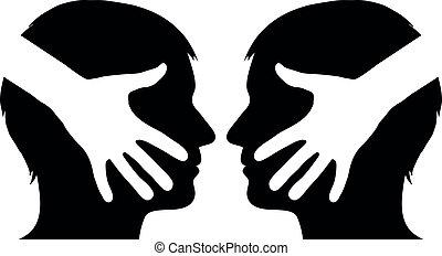 ręka, 2, między, człowiek, potrząsanie