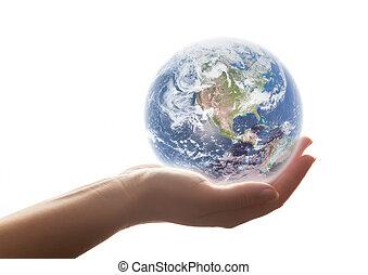 ręka., babski, środowisko, pojęcia, ziemia, shines, oprócz, itd., świat