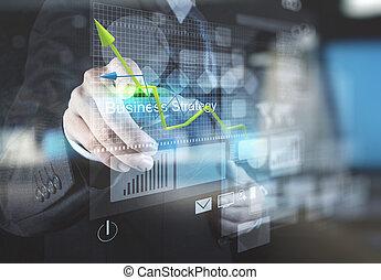 ręka, biznesmen, punkty, handlowa strategia