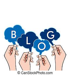 ręka, blog, słowo