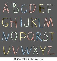 ręka, kreda rysunek, tablica, kolor, alfabet