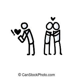 ręka, para., ikona, romans, prosty, wektor, app, datując, figura, wtykać, pojęcie, pociągnięty, pictogram., bujo, dzień, list miłosny, romantyk, motyw, serce, relationship., illustration., 10., eps, miłość, rocznica