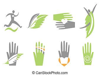 ręka, serce, human., wektor, ikony